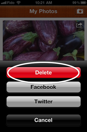 Deleting a photo